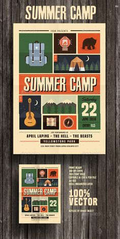 Indie Summer Camp Flyer by Guuver Retro Camping, Camping With Kids, Kids Camp, Camping Ideas, Web Design, Print Design, Logo Design, Event Poster Design, Graphic Design Posters