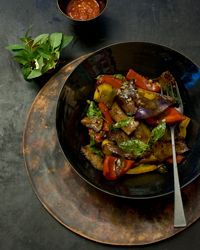Beef with Red and Yellow Bell Peppers Recipe on Food & Wine (271 calories)