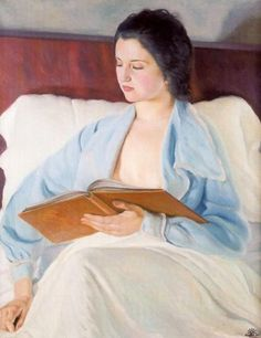 Reading in Bed, 1935. by Josep de Togores i Llach (Spanish, 1893-1970).