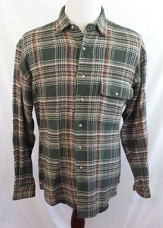 ORVIS Mens Plaid Flannel Cotton Button Front Green Red White Shirt Large  #Orvis #ButtonFront