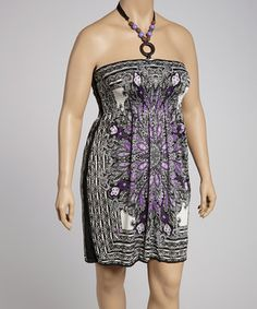Love this Black & Purple Shirred Dress - Plus by Life and Style Fashions on #zulily! #zulilyfinds