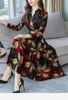 Floral Shirt Long Sleeve Midi A-line Dress fashion christmas carnival blackfriday big sale clearnce fashion outfits fashion trends fashion ideas fall fashion teenage fashion fashion. Stylish Dresses, Simple Dresses, Women's Fashion Dresses, Elegant Dresses, Day Dresses, Cute Dresses, Beautiful Dresses, Casual Dresses, A Line Dresses