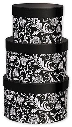 Large decorative gift boxes make for charming home decor. Also these decorative gift boxes are functional and they perform well Especially decorative nesting gift boxes. Great for key storage, jewelry storage, #gift #boxes and to use as home decorative accents.  #giftboxes    Nested Boxes Specialty & Event Boxes - Damask 3-Piece Nested Box Sets, Round (1 set of 3 nested boxes) - BOWS-NBS-DM