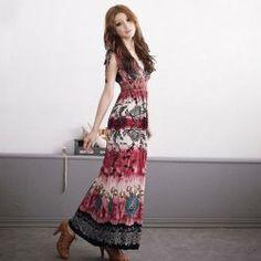 $12.52 Vintage Style Plunging Neckline Flower Print Sleeveless Maxi Dress For Women