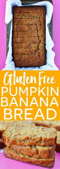 Gluten Free Pumpkin Banana Bread (dairy free too!) is the best fall quick bread recipe ever! Easy gluten free bread recipe from What The Fork Gluten Free Sweets, Gluten Free Cooking, Gluten Free Recipes, Easy Recipes, Simply Recipes, Healthy Fall Recipes, Healthy Moms, Vegan Recipes, Wheat Free Recipes