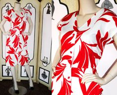 Vintage Courreges Dress in Red and White Botanical Print. Correges Paris Size A. Large.