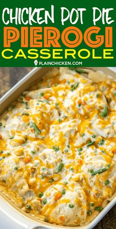 Chicken Pot Pie Pierogi Casserole - comfort food at its best! All you need is a few biscuits and dinner is done! Can make ahead of time and refrigerate or freeze for later. Pierogis, cream of chicken Pierogi Casserole, Chicken Pot Pie Casserole, Pierogi Recipe, Easy Casserole Recipes, Casserole Dishes, Chicken Soup, Chicken And Vegetable Casserole, Garlic Chicken, Diner Recipes