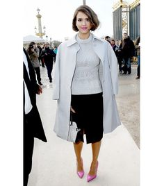 @Who What Wear - Lesson 9: Channel your inner editrix with a faux bob.                 On Alba: Nina Ricci coat, sweater, skirt and Marche Medium Monochrome Leather & Suede Satchel ($1,950).