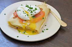 Chive Cream Cheese Blintzes with Lox and a Poached Egg -
