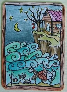 Home Doodle-could use paint with glue mixture to outline and watercolor inside lines