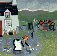 'Dilys And Her Cats' By Painter Valeriane Leblond. Blank Art Cards by Green Pebble. www.greenpebble.co.uk