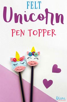 Felt Unicorn Pen Topper Tutorial - If you are looking for a fun craft for a long rainy afternoon then look no further than this adorable Felt Unicorn Pen Topper! Baby Diy Projects, Diy Sewing Projects, Sewing Crafts, Craft Projects, Summer Crafts, Crafts For Kids, Foam Crafts, Paper Crafts, Pencil Topper Crafts