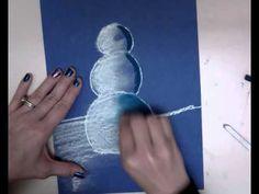 Snowmen At Night - Chalk Pastel Drawing - YouTube                                                                                                                                                                                 More