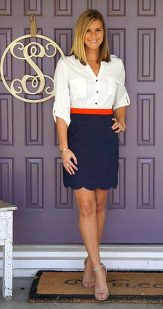 Stitch Fix Pixley Stacey Scallop Hem Cut-Out Detail Skirt - love everything about this! @stitchfix great outfit for work!