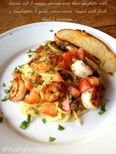 Seared Salt & Pepper Shrimp over Thin Spaghetti with a Mushroom & Garlic Cream Sauce #recipe #pasta #shrimp