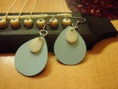 Baby Blue Teardrop Guitar Pick Earrings by DirtRoadOriginals, $6.00