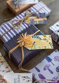 Printable Fall Gift Tags in Plum, Navy and Orange Tones @LiaGriffith.com #freeprintable #gifttags #Creativebug