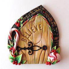 Believe Elf Door Fairy Door Pixie Portal Holiday by Claybykim