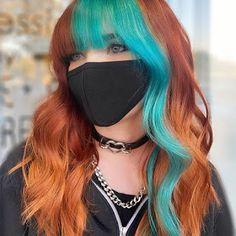Pulp Riot Hair Color, Vivid Hair Color, Hair Color Streaks, Hair Dye Colors, Cool Hair Color, Amazing Hair Color, Color Block Hair, Split Dyed Hair, Creative Hair Color