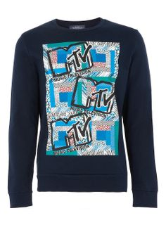 Navy MTV Printed Sweatshirt - TOPMAN USA