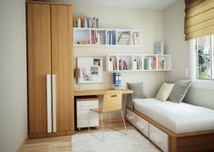 Attractive Double Floating White Painted Wooden Bookshelf Over Unfinished Wooden Study Desk Connected With Tall Wardrobe As Well As Birch Wood Chair Using Steel Leg, Fascinating Bookshelf Design Ideas For Bedroom : Furniture