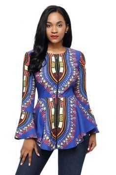 5abc8458d766f Cobalt Blue African Print Zipper Front Long Sleeve Top. African Dresses For  WomenAfrican Print Peplum TopAfrican Print FashionBlouse StylesShirt ...