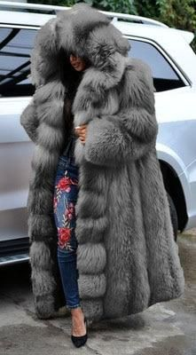 Faux Fur Hooded Coat, Long Faux Fur Coat, Fox Fur Coat, Dressy Jackets, Langer Mantel, Long Winter Coats, Coat Sale, Fur Fashion, Faux Leather Jackets