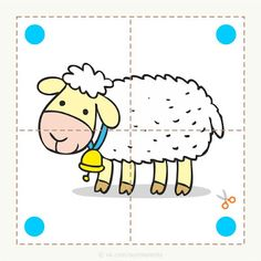 Preschool and children& animal puzzles, let& cut. - Preschool and children& animal puzzles, let& cut. Preschool and children& animal - Preschool Learning Activities, Preschool Lessons, Creative Activities, Preschool Art, Preschool Activities, Activities For Kids, Farm Animal Crafts, Puzzles For Toddlers, Animal Puzzle