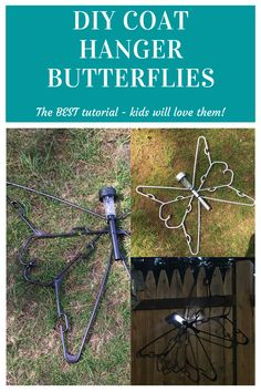 Coat Hanger Butterfly Craft Kids Will Love Wire Hanger Crafts, Wire Crafts, Summer Crafts, Fun Crafts, Craft Kids, Crafts For Kids, Kids Activities At Home, Art Activities, Plastic Clothes Hangers