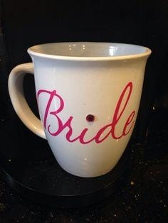 Bride pink and white coffee mug ready to ship by GlitzyGlitterGal