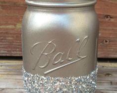 Black & Gold Glitter Mason Jar Perfect for by PrettySimplyStudio