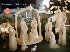 Beautiful nativity now on sale, while supplies last. Love how baby Jesus can lay in the manger or in Mary's arms!
