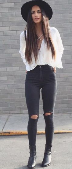 Bohemian Black And White Outfit Source