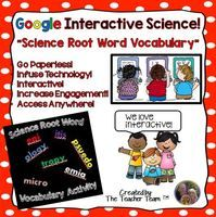 Interactive Science! Science Root Word Vocabulary Activities for Google or Microsoft OneDrive