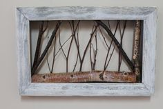 White Birch Twig Art Rustic Wall Art Cottage by WildWoodBarkArt