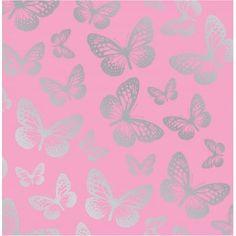 Fine Decor Fun4Walls Butterfly Metallic Wallpaper Pink / Silver