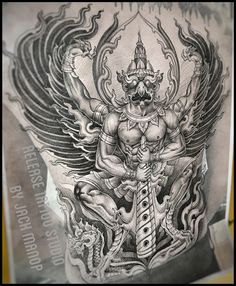 Neo Thai Thai tattoo พญาครุฑ Jack manop Line Release tattoo studio Flash Art Tattoos, Body Art Tattoos, Sleeve Tattoos, Kunst Tattoos, Irezumi Tattoos, Geisha Tattoos, Maori Tattoos, Dragon Tattoos, Tribal Tattoos
