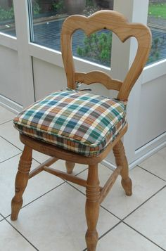 *NEW STYLE* COUNTRY CHECK SEAT / CHAIR PAD / CUSHION - BEIGE, NAVY, GREEN &…
