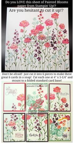 Stampin Up! Painted Blooms 12x12 flower paper cut into 6 note cards - quick and easy gift or stamping class.