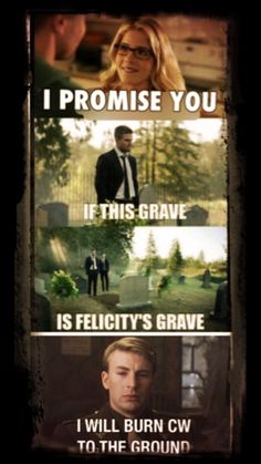 This episode made me so curious at the end like I'm not kidding they didn't even show the grave name. WHO DOES THAT!!! LIKE, COME ON WE WANT TO KNOW WHO'S GRAVE YOU'RE STARING AT AND IF IT IS FELICITY'S I WILL DIE!!!!!!