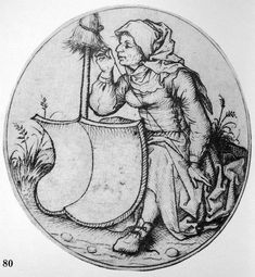 Peasant woman spinning with blank sheild, 1470-1475, Kirtle