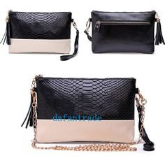 Fashion-Women-Zipper-Clutch-chain-shoulder-messenger-Bag-black-Wristlet-Handbag