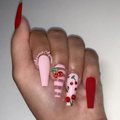 35 Trendy Nails New Trend Are Perfect for This Summer 2019 addict ;the glitter nail Summer Acrylic Nails, Best Acrylic Nails, Acrylic Nail Designs, Aycrlic Nails, Swag Nails, Hair And Nails, Cherry Nail Art, Acryl Nails, Coffin Nails Long