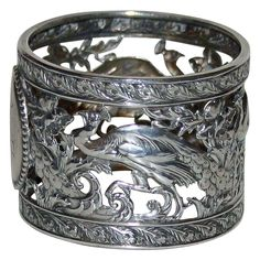 Antique American Coin Silver Napkin Ring with Peacocks from camdenhouseantiques on Ruby Lane