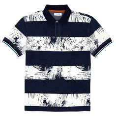 Slim Fit Palm Print Rugby Stripe Polo Shirt - Snow White | Nautica Camisa Polo, T Shirt Yarn, T Shirt Diy, Men Shorts, Striped Polo Shirt, Palm Print, Party Shirts, Cut Shirts, Kids Wear