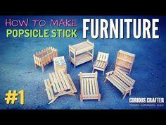Sticks Furniture, Diy Kids Furniture, Diy Barbie Furniture, Furniture Chairs, Outdoor Furniture, Popsicle Stick Houses, Popsicle Stick Crafts For Kids, Craft Stick Crafts, Miniature Dollhouse Furniture