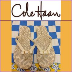 NEW LISTING (Just In) Cole Haan Sandals White. Soiled but in good condition. Size 9. (3/13) Cole Haan Shoes Sandals