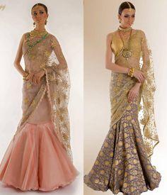 13 Amazing Trends We Spotted At Wedding Asia - ShaadiWish Lehenga Saree Design, Lehenga Style, Saree Blouse Designs, Party Wear Indian Dresses, Indian Wedding Outfits, Bridal Outfits, Saree Draping Styles, Saree Styles, Indian Designer Outfits