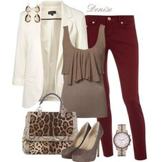 Burgundy Skinny jeans by deniselanders on Polyvore featuring polyvore, fashion, style, Topshop, AllSaints, Dolce&Gabbana, Michael Kors, Melissa Lo and clothing