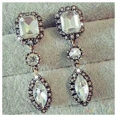"""""""Kate"""" Rhinestone Waterdrop Earrings Beautiful  rhinestone waterdrop earrings, measures  approximately  2"""" long, 3/4"""" wide Wild Plum Boutique  Jewelry Earrings"""